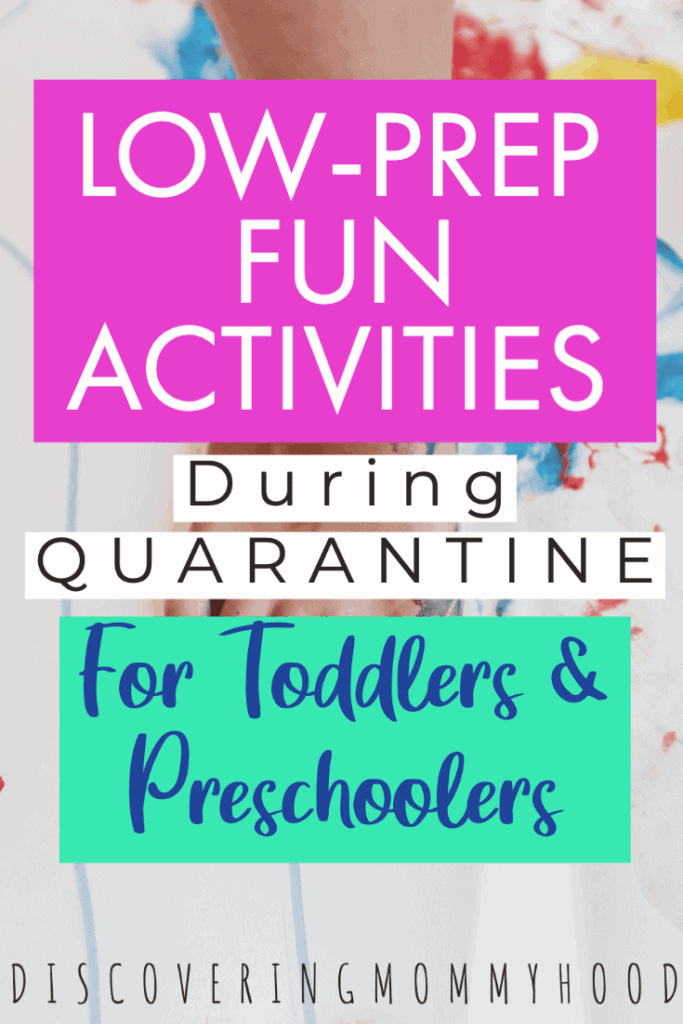 Easy, Low-Prep, Screen-Free Activities For Toddlers and Preschoolers During Quarantine #momlife #toddleractivities #easyactivities #booksforpreschoolers #screenfreeactivities #quarantinelife