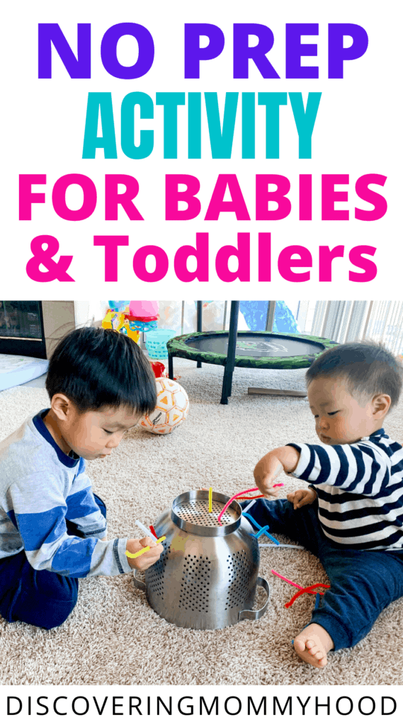 Colander Pipe Cleaner: No Prep Activity for Babies