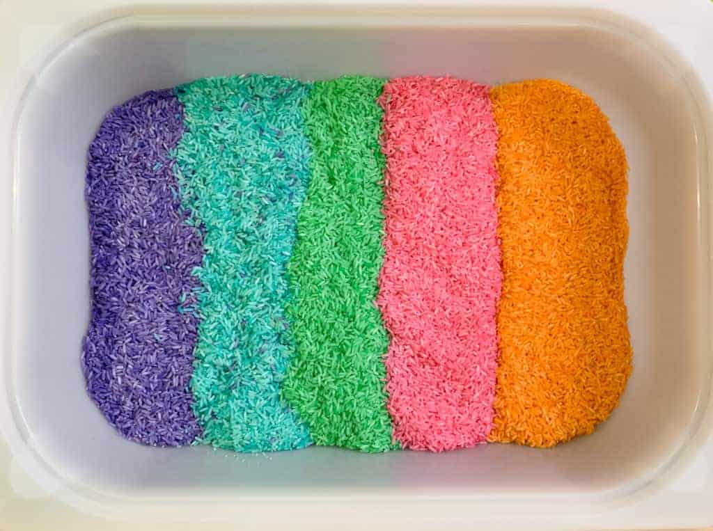How to make Rainbow Rice Sensory Bin Activity for Toddlers and Preschoolers