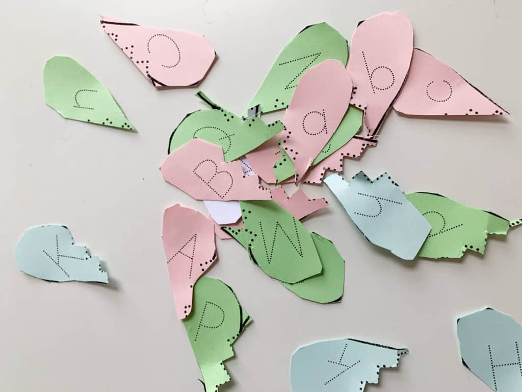 Letter Recognition and Tracing Valentine's Day activity for preschool