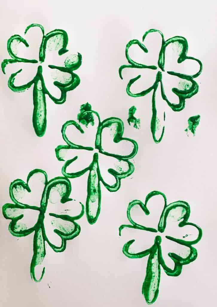 Simple St. Patrick's Day Craft for Preschoolers: Shamrock Stamps