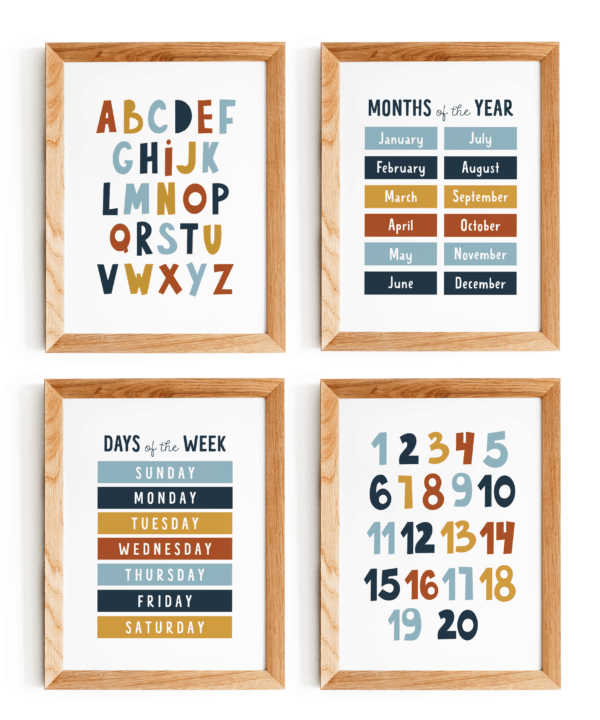 Educational Wall Print, Kids Wall Art, Nursery Wall Decor Printable Set of 4 Prints, Alphabet, Numbers, Days of the Week, Months of the Year