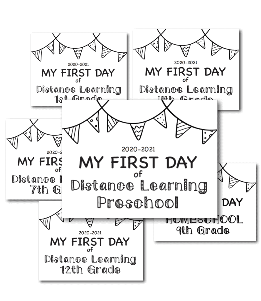 Distance Learning First Day of School Sign