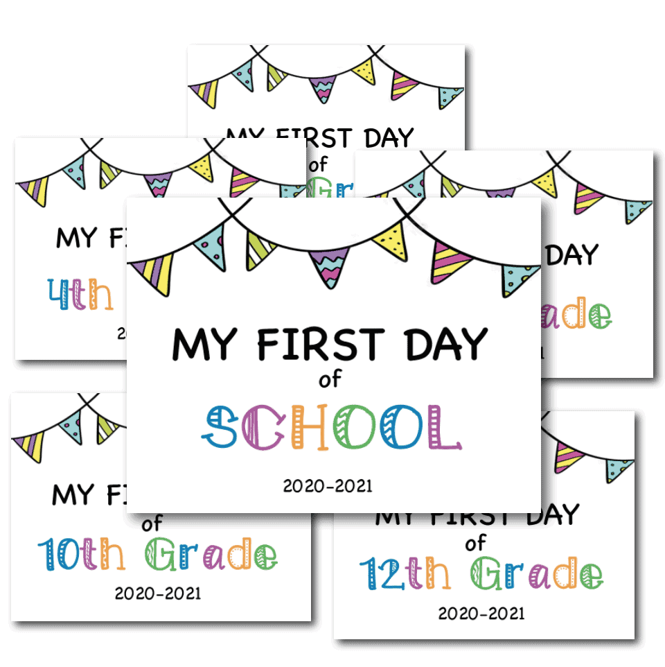 COLOR First Day of School Sign
